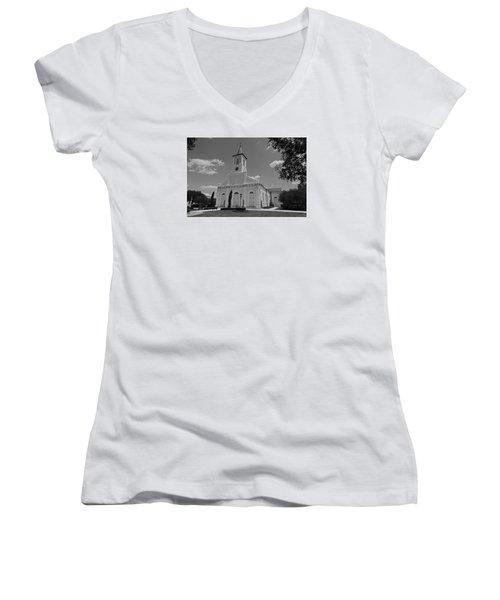 St. Martinville Church Women's V-Neck T-Shirt (Junior Cut) by Ronald Olivier