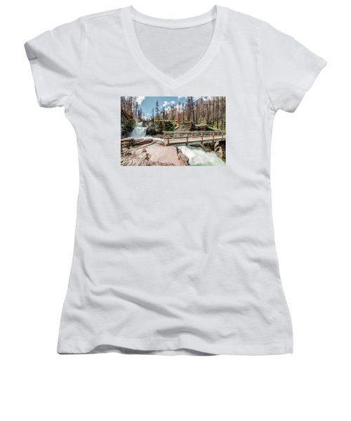 St. Mary Falls With Bridge Women's V-Neck