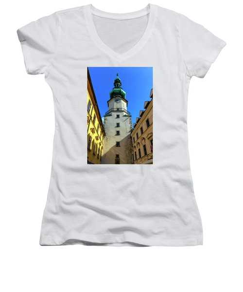 St Michael's Tower In The Old City, Bratislava, Slovakia, Europe Women's V-Neck T-Shirt (Junior Cut) by Elenarts - Elena Duvernay photo