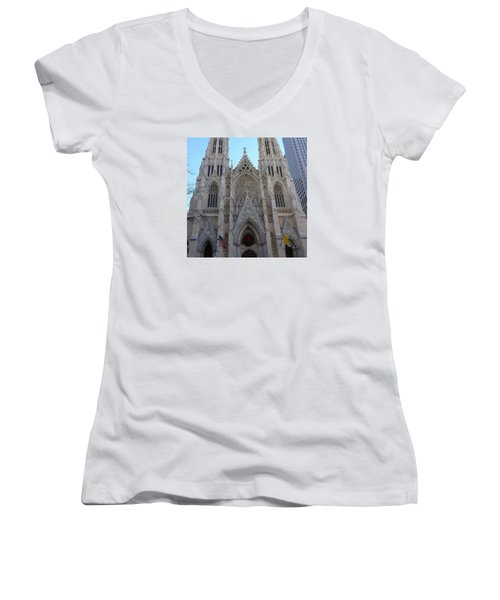 Women's V-Neck T-Shirt (Junior Cut) featuring the photograph St Patrick's Cathedral, Nyc by Melinda Saminski