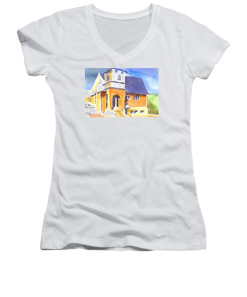 Women's V-Neck T-Shirt (Junior Cut) featuring the painting St Paul Lutheran 3 by Kip DeVore