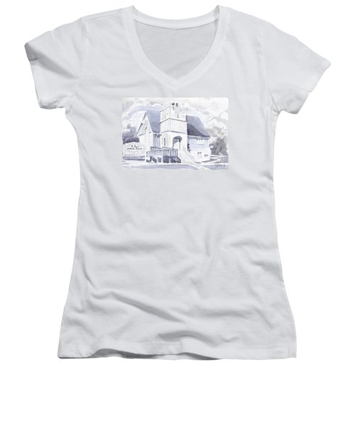 Women's V-Neck T-Shirt (Junior Cut) featuring the painting St. Paul Lutheran Church 2 by Kip DeVore