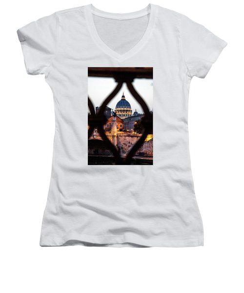 Women's V-Neck T-Shirt (Junior Cut) featuring the photograph St. Peter's Basilica From The St. Angelo Bridge by Jean Haynes