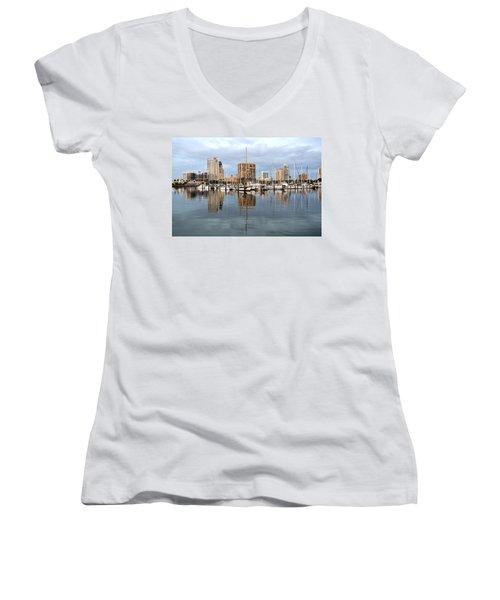 St Petersburg Marina Women's V-Neck T-Shirt