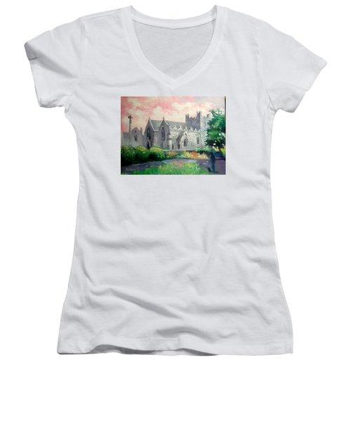 St Trinity Abbey Adare County Limerick Ireland Women's V-Neck T-Shirt