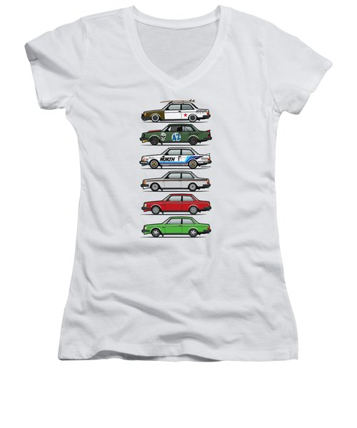 Stack Of Volvo 242 240 Series Brick Coupes Women's V-Neck T-Shirt