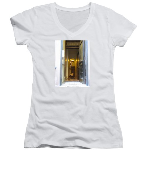 Women's V-Neck T-Shirt (Junior Cut) featuring the photograph Stairs by Christopher Woods