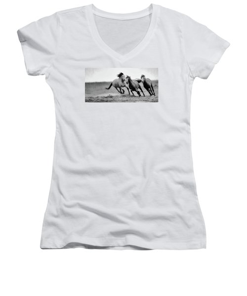 Stallion  Women's V-Neck T-Shirt (Junior Cut) by Kelly Marquardt