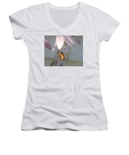Stamen Attraction 2 Women's V-Neck T-Shirt (Junior Cut) by Christina Verdgeline