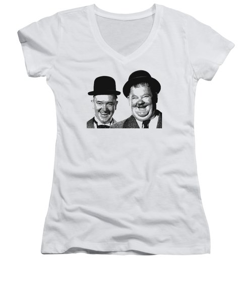 Stan And Ollie - Parallel Hatching Women's V-Neck (Athletic Fit)