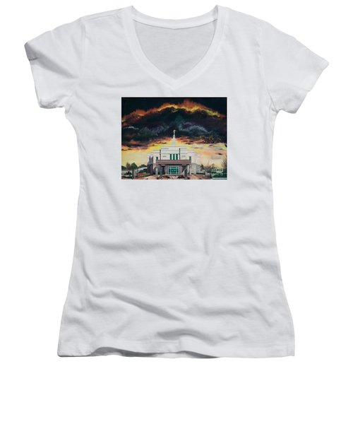 Stand In Holy Places Women's V-Neck T-Shirt (Junior Cut) by Jane Autry