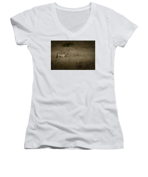 Women's V-Neck T-Shirt (Junior Cut) featuring the photograph Standing In The Light by Roger Mullenhour