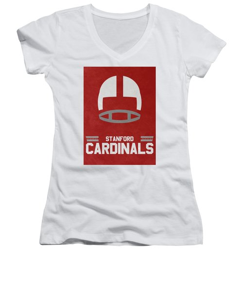 Stanford Cardinals Vintage Football Art Women's V-Neck (Athletic Fit)