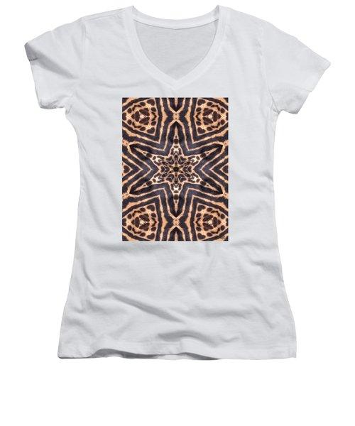 Star Of Cheetah Women's V-Neck T-Shirt (Junior Cut) by Maria Watt