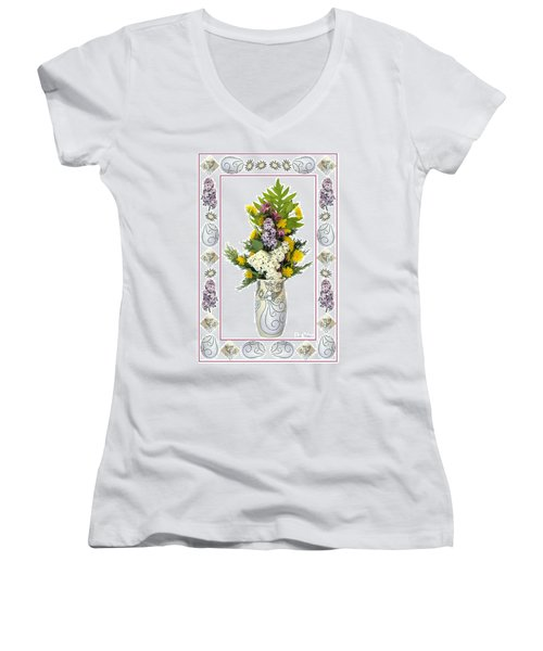 Women's V-Neck T-Shirt (Junior Cut) featuring the photograph Star Vase With A Bouquet From Heaven by Lise Winne
