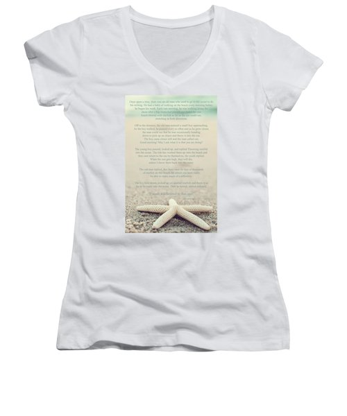 Starfish Make A Difference Vintage Set 1 Women's V-Neck T-Shirt (Junior Cut) by Terry DeLuco