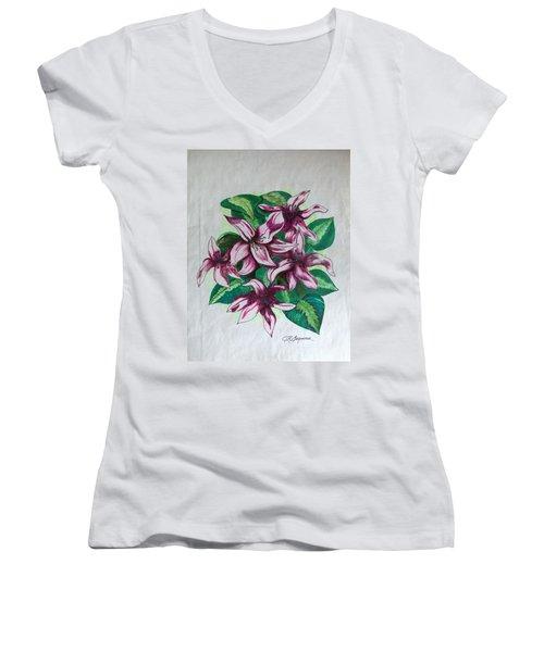Stargazers Blooming Women's V-Neck T-Shirt (Junior Cut) by J R Seymour