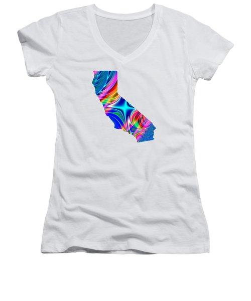 State Of California Map Rainbow Splash Fractal Women's V-Neck