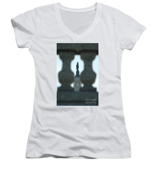 Statue Of Freedom Through Railing Women's V-Neck (Athletic Fit)