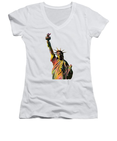 Statue Of Liberty Women's V-Neck (Athletic Fit)
