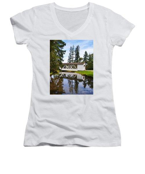 Stayton-jordon Covered Bridge Women's V-Neck T-Shirt