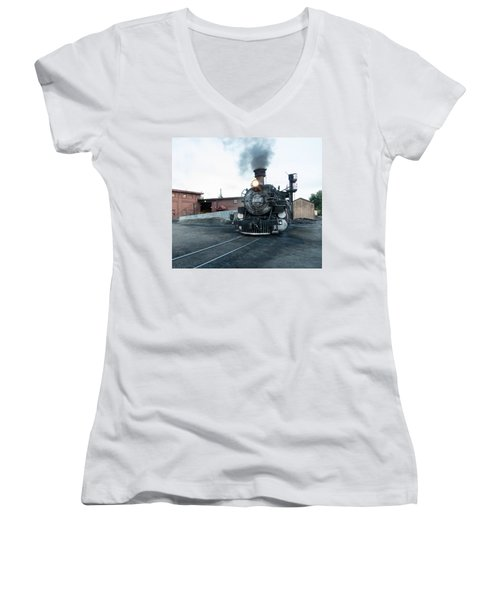 Steam Locomotive In The Train Yard Of The Durango And Silverton Narrow Gauge Railroad In Durango Women's V-Neck T-Shirt (Junior Cut) by Carol M Highsmith