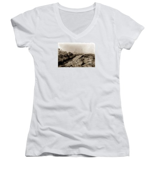 Steam Schooner S S J. B. Stetson, Ran Aground At Cypress Point, Sep. 1934 Women's V-Neck T-Shirt (Junior Cut) by California Views Mr Pat Hathaway Archives