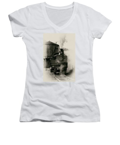 Women's V-Neck T-Shirt (Junior Cut) featuring the photograph Steam Train by Jerry Fornarotto