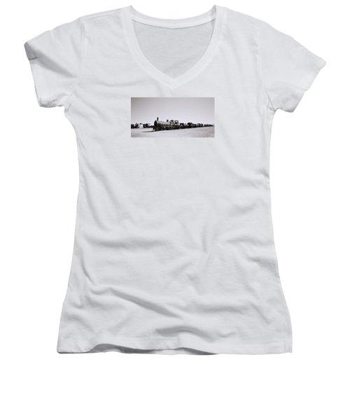 Steam Trains Women's V-Neck T-Shirt (Junior Cut) by Shaun Higson