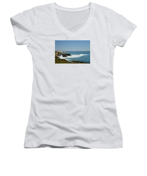 Steamer Lane, Santa Cruz Women's V-Neck (Athletic Fit)