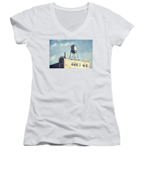 Women's V-Neck T-Shirt (Junior Cut) featuring the photograph Steel Water Tower, Brooklyn New York by Gary Heller