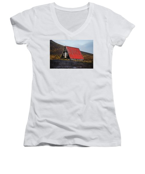 Steep Roof Barn Western Iceland Women's V-Neck (Athletic Fit)