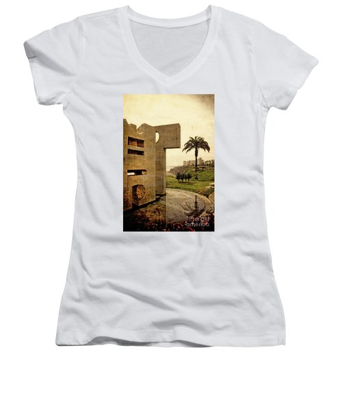 Women's V-Neck T-Shirt (Junior Cut) featuring the photograph Stelae In The Park - Miraflores Peru by Mary Machare