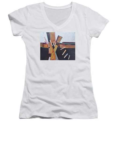 Stepping Up Women's V-Neck T-Shirt (Junior Cut) by Nancy Jolley