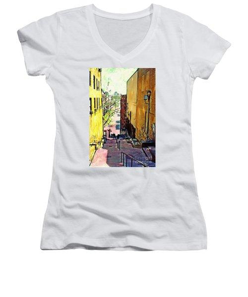 Steps At 187 Street Women's V-Neck T-Shirt (Junior Cut) by Sarah Loft