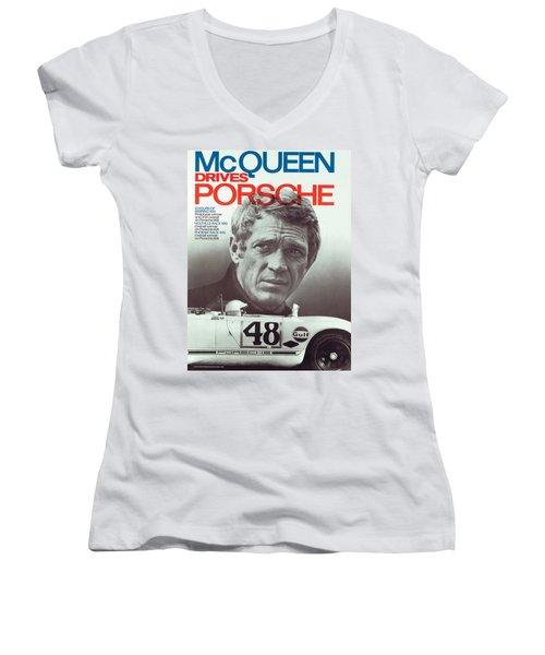 Steve Mcqueen Drives Porsche Women's V-Neck