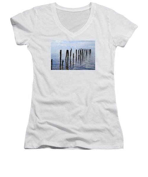 Sticks Out To Sea Women's V-Neck (Athletic Fit)