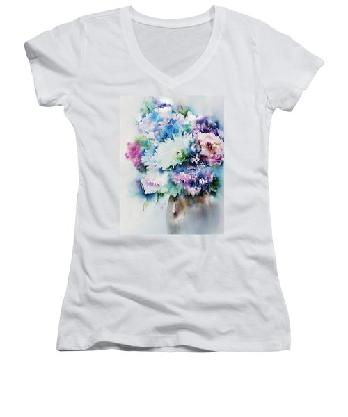 Still Life Rose Bouquet Watercolour Women's V-Neck