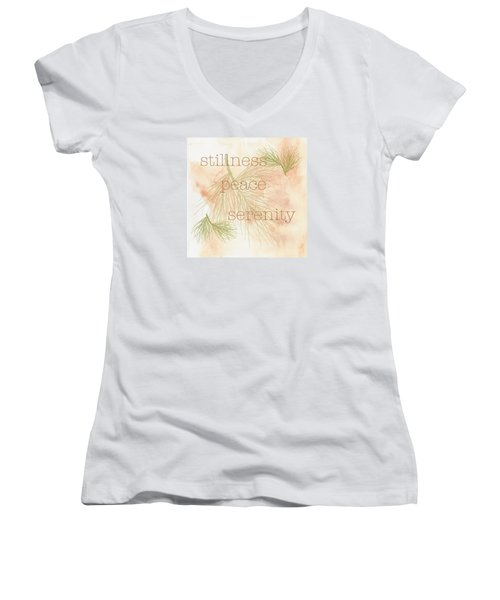 Stillness  Women's V-Neck T-Shirt (Junior Cut) by Kandy Hurley