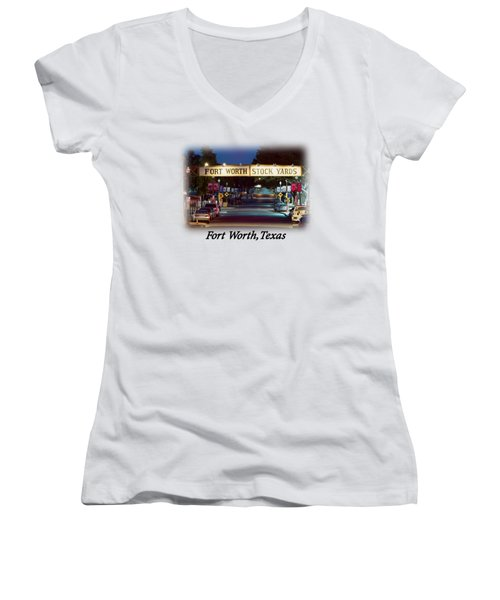 Stock Yards Sign T-shirt Women's V-Neck T-Shirt