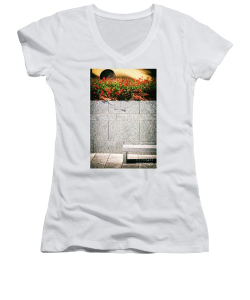 Women's V-Neck T-Shirt (Junior Cut) featuring the photograph Stone Bench With Flowers by Silvia Ganora