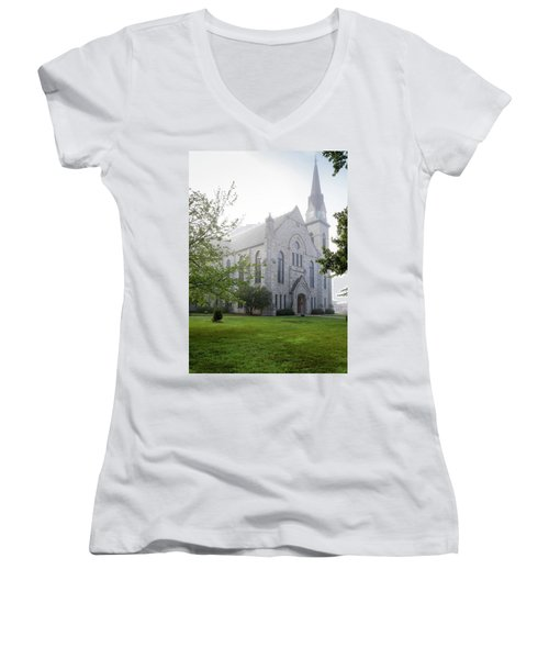 Stone Chapel In Fog Women's V-Neck