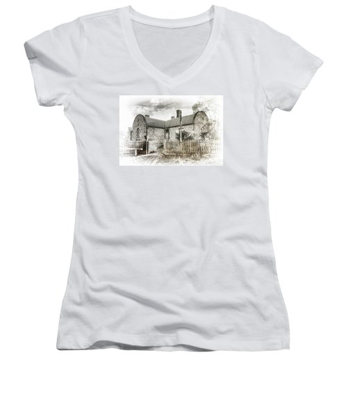 Stone Cottage Women's V-Neck T-Shirt (Junior Cut) by Wayne Sherriff