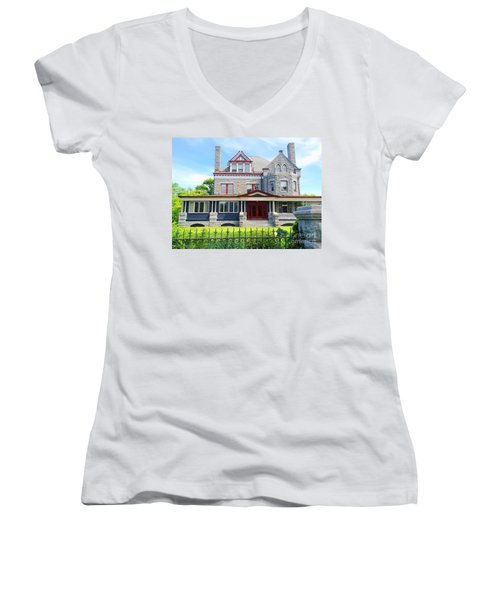 Women's V-Neck T-Shirt (Junior Cut) featuring the photograph Stone Mansion Red Doors by Becky Lupe