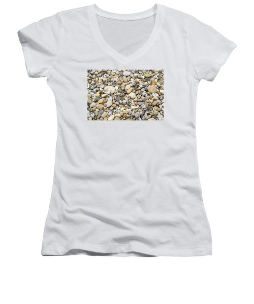 Women's V-Neck T-Shirt (Junior Cut) featuring the photograph Stone Pebbles Patterns by John Williams