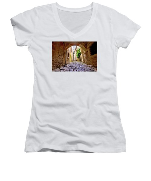 Stone Town Of Groznjan Old Street  Women's V-Neck T-Shirt (Junior Cut) by Brch Photography