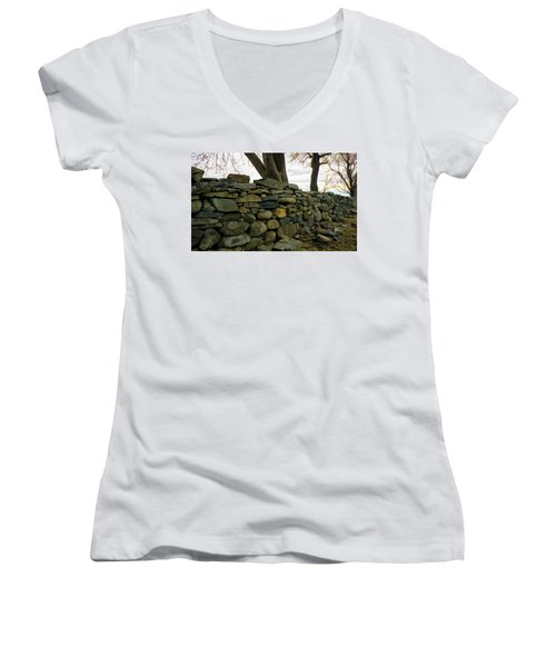 Women's V-Neck T-Shirt (Junior Cut) featuring the photograph Stone Wall, Colt State Park by Nancy De Flon