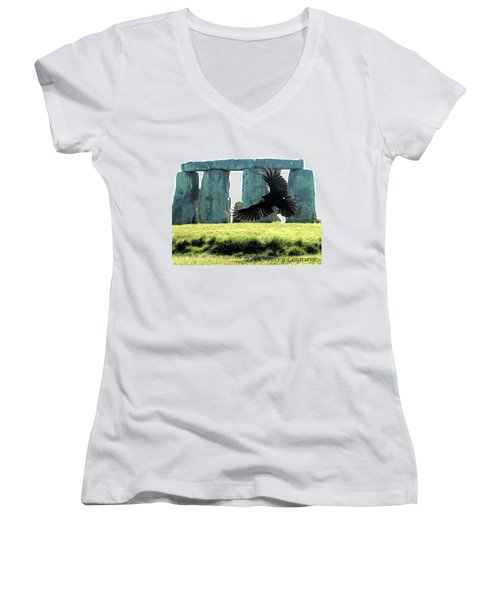 Women's V-Neck T-Shirt (Junior Cut) featuring the photograph Stonehenge Crow by Terry Cosgrave