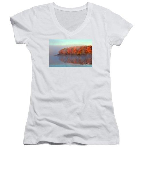 Stoneledge Lake Pristine Beauty In The Fog Women's V-Neck T-Shirt