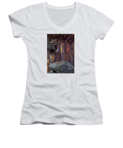 Women's V-Neck T-Shirt (Junior Cut) featuring the photograph Rusted Stones 2 by Steve Siri